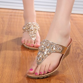 Beads&Rhinestone Decoration Flat Sandals
