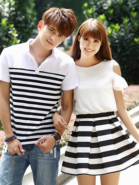 Ericdress Pleated Stripe Couple Suits