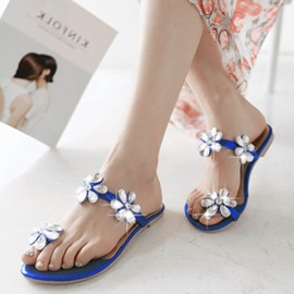 Fresh Princess Rhinestone Decoration Flat Sandals