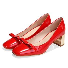 Bright Bowtie Low Chunky Heel Pumps