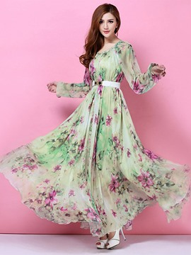 Ericdress Green Printed Long Sleeve Maxi Dress