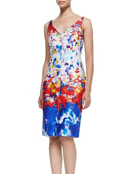 Ericdress Generous V-Neck Sheath Hand Painted Little Party Dress