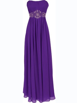 Ericdress Glittering Strapless Appliques Floor-Length Prom Dress