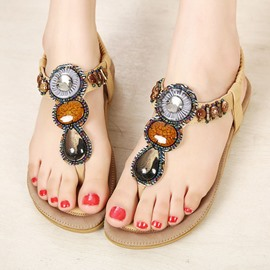 Ethnic Handmade Beads Clip-toe Flat Sandals