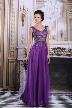 Ericdress High-class V-neck Appliques Bowknot Long Purple Evening Dress