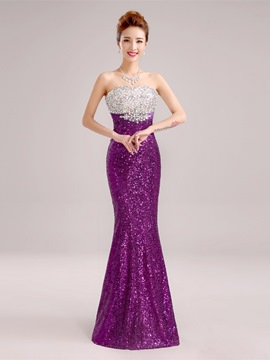 Ericdress Spectacular Strapless Sequins Beaded Long Evening Dress