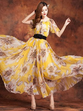 Ericdress Yellow Printed Maxi Dress