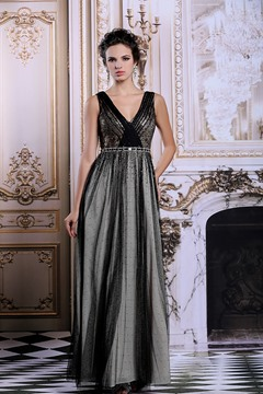 Ericdress Advanced V-Neck Floor-Length Sequins Black Evening Dress