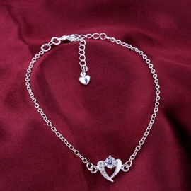 Ericdress Heart Shaped Rhinestone Anklet
