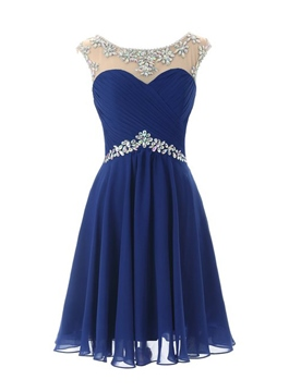 Ericdress Cap Sleeves A-Line Scoop Neck Beadings Short Homecoming Dress