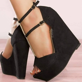 Suede Ankle Strap Wedge Sandals