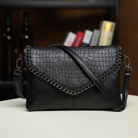 Ericdress Stylish Chain Decorated Embossing PU Shoulder Bag