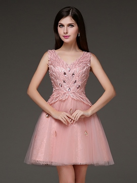 Ericdress A-Line V-Neck Appliques Crystal Mini Homecoming Dress
