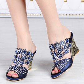 Glittering Rhinestone Wedge Sandals