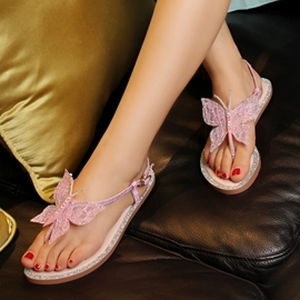 Popular Butterfly Decoration Flat Sandals
