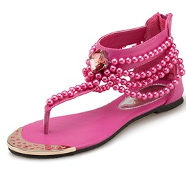 Princess Pearls Decoration Flat Sandals