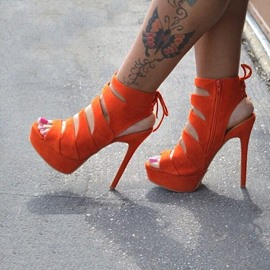 Orange Back Lace-up Hollow-outs Stiletto Sandals