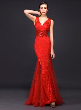Ericdress Spectacular V-Neck Lace Sheath Long Evening Dress