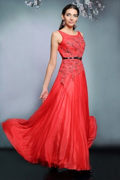 Ericdress Luxurious Scoop A-Line Floor-Length Red Evening Dress