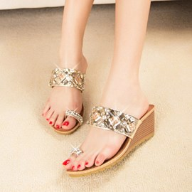 Roman Rhinestone Decoration Flat Sandals