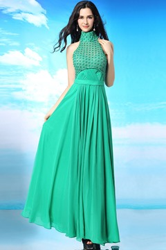 Ericdress Exquisite High-Neck Pleats A-Line Evening Dress
