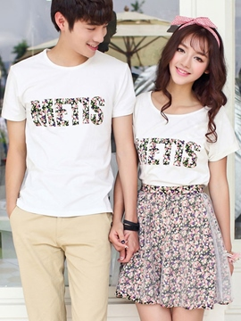 Ericdress Letter Floral Print Couple Suits