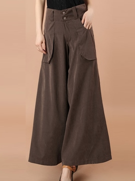 Ericdress Cotton Blends Pockets Wide Leg Pants
