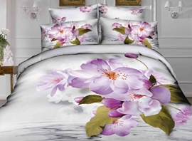 Ericdress Graceful Purple Flower Print 4-Piece 3D Bedding Sets