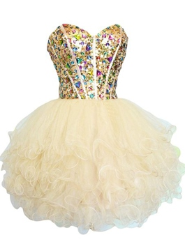 Ericdress Schatz Ball Kleid Crystal Deckleisten Mini Homecoming Kleid