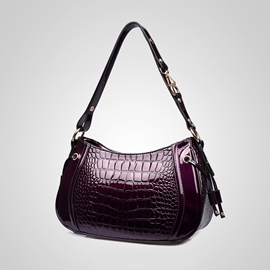 Ericdress Exquisite Patent Leather Croco Shoulder Bag
