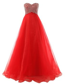 Ericdress A-Line Sweetheart Beaded Lace-Up Long Prom Dress