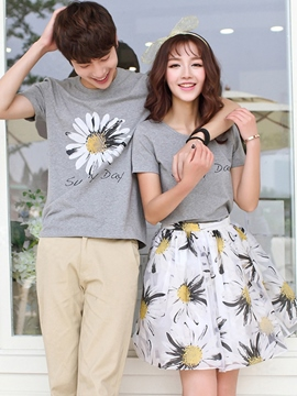 Ericdress Plant Print Couple Suits