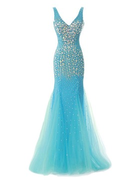 Ericdress Sumptuous V-Neck Beaded Mermaid Long Evening Dress