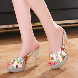 Floral Print Peep-toe Chunky Sandals