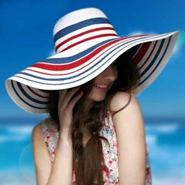 Ericdress Chic Stripe Wide Brim Sunhat