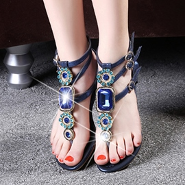 Glamorous Crystal Flat Sandals with Buckles