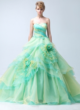 Sumptuous Ball Gown Strapless Colourful Flower(s) Zipper-Up Court Train Quinceanera Dress