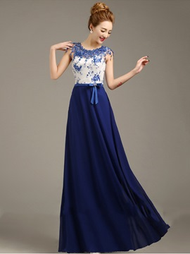 Ericdress Sumptuous Appliques Floor-Length Beaded A-Line Prom Dress