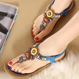 Vintage Beads Decoration Clip-toe Flat Sandals