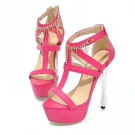 T-Strap Peep-toe Stiletto Sandals with Tassels