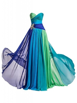Ericdress Color Block bodenlangen Chiffon Abendkleid