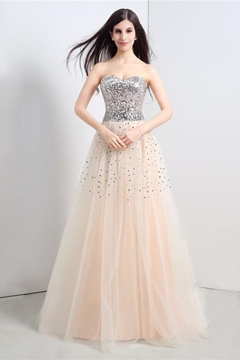 Ericdress Sweetheart Lace-Up Sequins A-Line Long Prom Dress