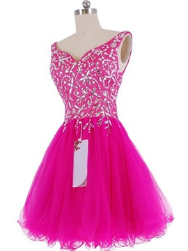 Ericdress V-Neck Beadings A-Line Short Homecoming Dress