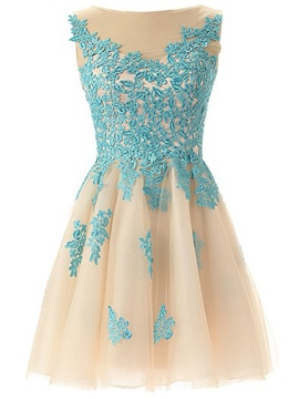 Ericdress Juwel Hals Applikationen kurzes Junior Prom Kleid