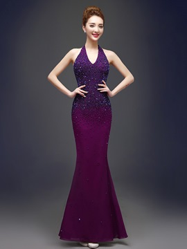 Ericdress Influence Halter V-Neck Floor-Length Mermaid Evening Dress