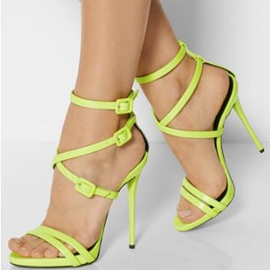 Bright Buckle Decorated Stiletto Sandals