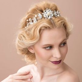 Ericdress Charming Flower Pearls Alloy Tiara