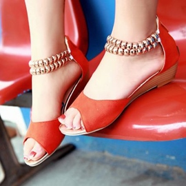 European Ankle Strap Peep-toe Flat Sandals