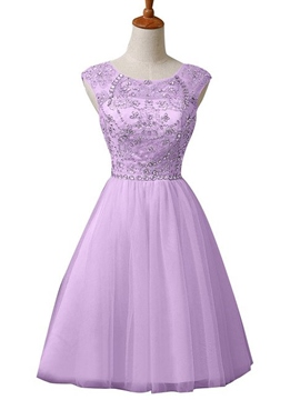 Ericdress Scoop Beaded Cap Sleeves A-Line Homecoming Dress