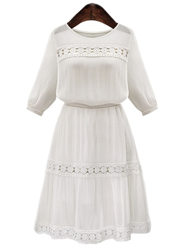 Ericdress Lace White Patchwork Casual Dress